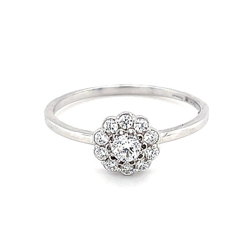 Sterling Silver Cubic Zirconia Flower Ring 133990