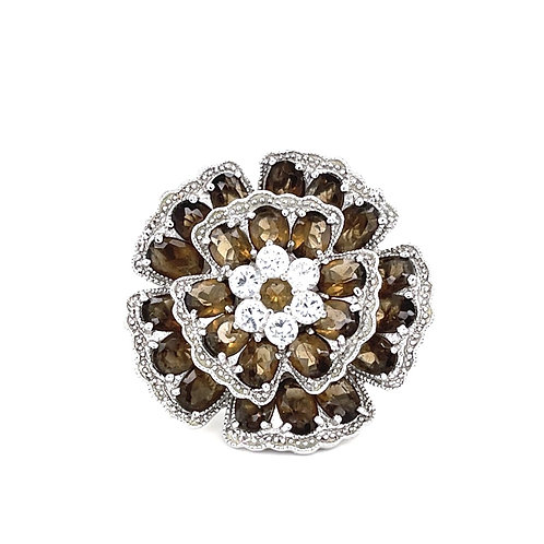 Sterling Silver Cubic Zirconia Flower Brown Color Ring 123461