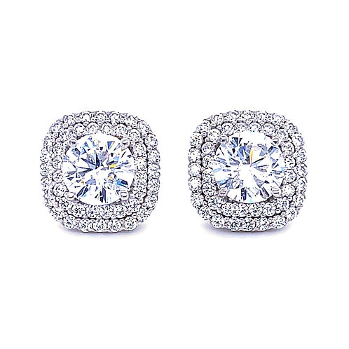 Sterling Silver Cubic Zirconia Square Studs 141391