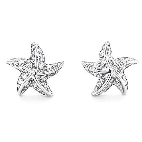Sterling Silver Cubic Zirconia Starfish Stud Earrings 117984