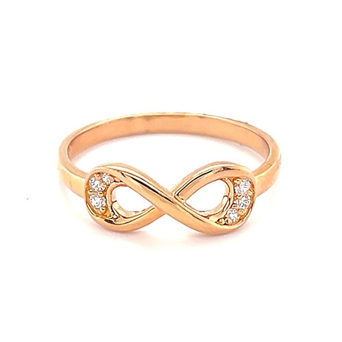 Rose Gold Plated Sterling Silver Cubic Zirconia Infinity Ring 131401
