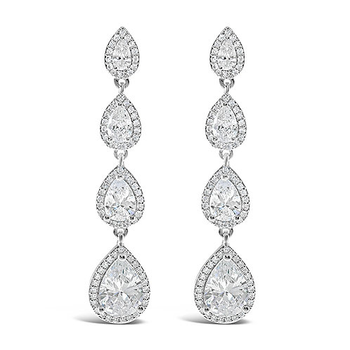 Bridal Silver Cubic Zirconia Tear Drop Earrings 128589