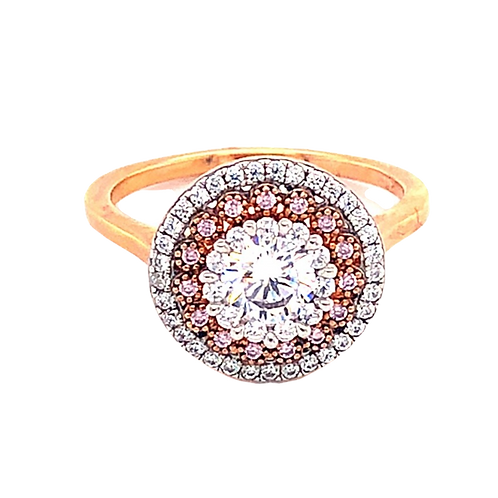 Rose Gold Plated Sterling Silver Cubic Zirconia Ring 132135