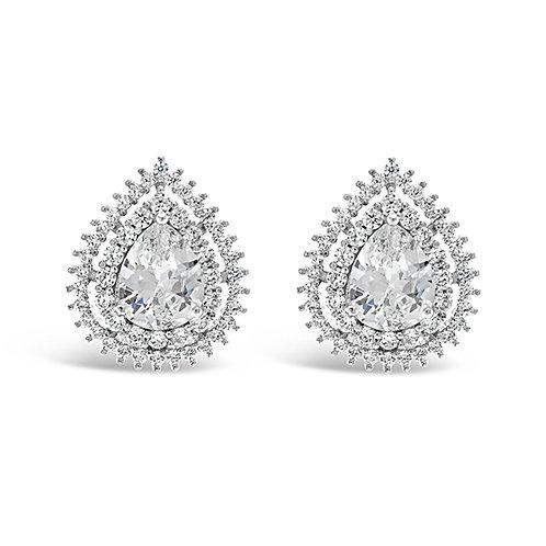 Bridal Silver Cubic Zirconia Tear Drop Stud Earrings 129627