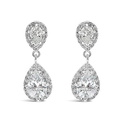 Bridal Silver Cubic Zirconia Tear Drop Earrings 129759-10121978