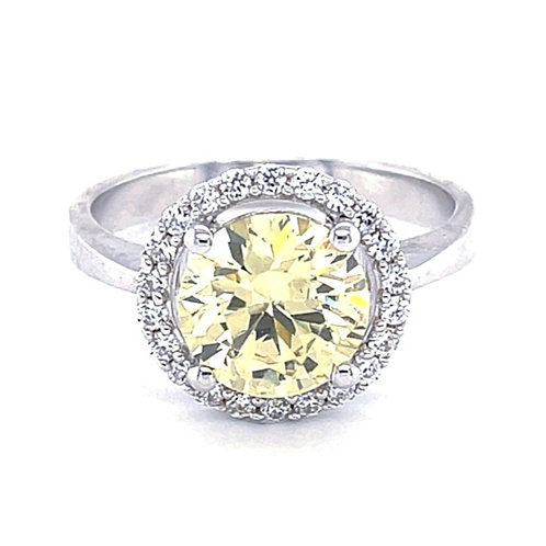Sterling Silver Cubic Zirconia Round Yellow Ring 118348