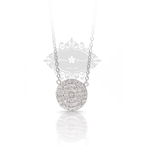 Sterling Silver 12mm Cubic Zirconia Disc Necklace