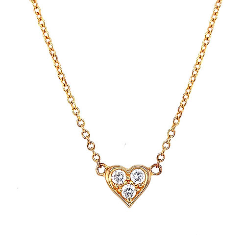 Rosegold Plated Sterling Silver Cubic Zirconia Heart Necklace 127377