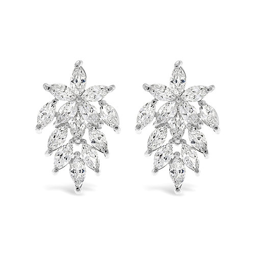 Bridal Sivler Cubic Zirconia Stud Earrings 129761
