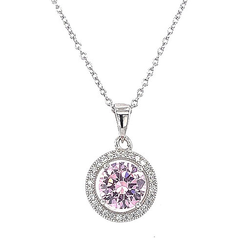 Sterling Silver Cubic Zirconia Round Pink Necklace 141712
