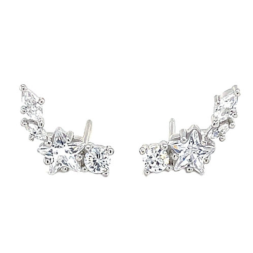 Sterling Silver Cubic Zirconia star Crawler Earrings 141752