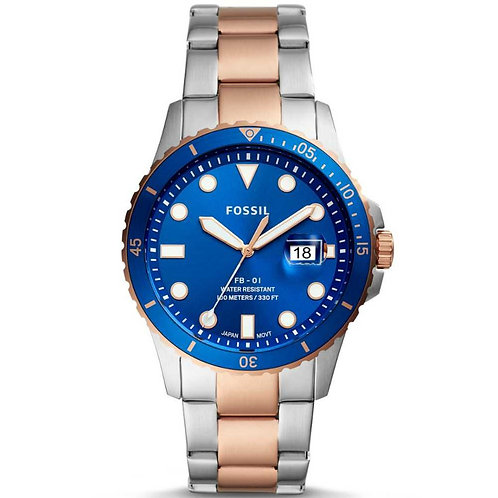 Fossil Mens FB Two-Tone Blue Dial Date
