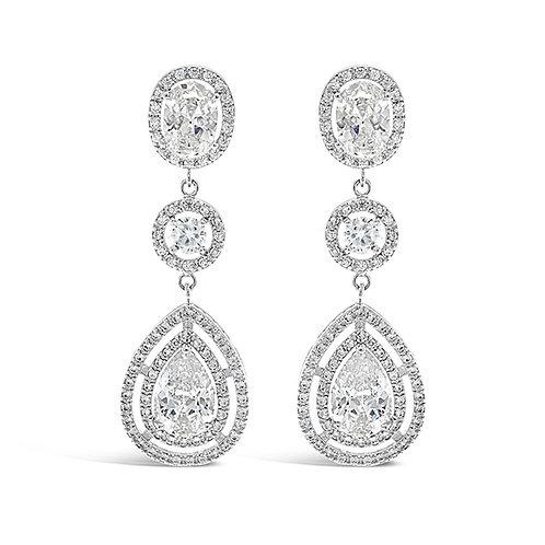 Bridal Cubic Zirconia Tear Drop Earrings 124882