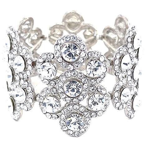 Fashion Silver Crystal Elastic Bracelet 125116