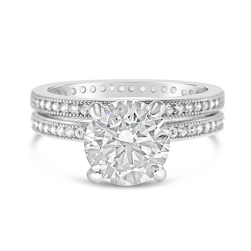 Sterling Silver Micro Pave Cubic Zirconia Set Ring 113916