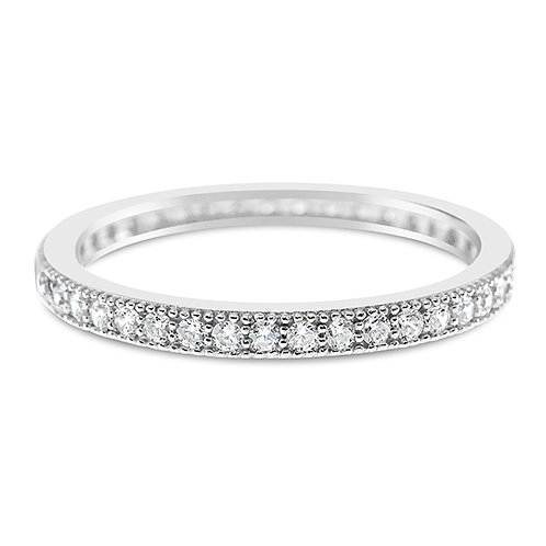 Sterling Silver Micro Pave Cubic Zirconia Ring 114911