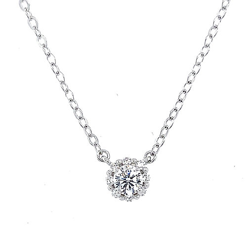 Sterling Silver Cubic Zirconia Round Necklace 126044