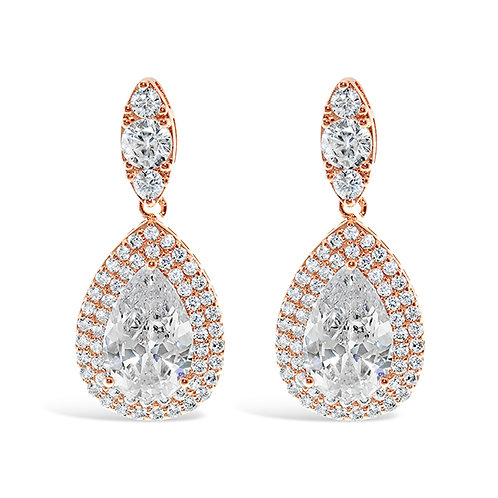 Bridal Rose Gold Cubic Zirconia Tear Drop Earrings130222