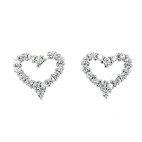 Sterling Silver Cubic Zirconia Heart Stud Earrings 132772
