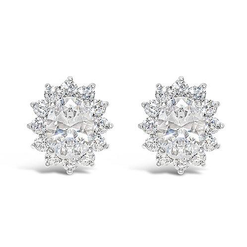 Bridal Cubic Zirconia Oval Stud Earrings 128585