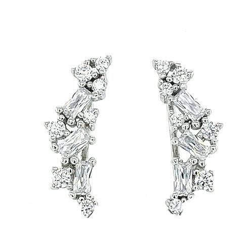 Sterling Silver Cubic Zirconia Crawler Earrings 129982