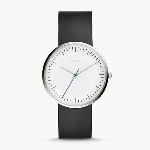 Fossil Essentialist Three-Hand Black Leather Watch