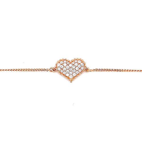 Rose Gold Plated Sterling Silver Cubic Zirconia Heart Bracelet 141836