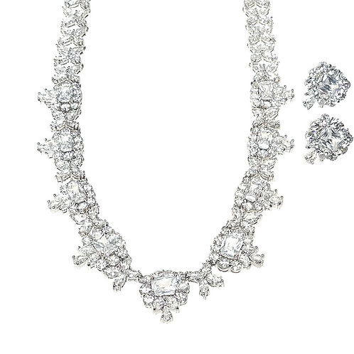 Fashion Silver Cubic Zirconia Necklace & Earrings Set 161234