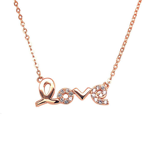 Rosegold Plated Sterling Silver Cubic Zirconia Love Necklace 133261