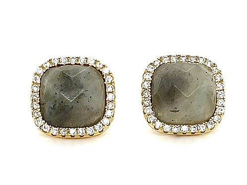 Gold Plated Sterling Silver Cubic Zirconia Labradorite Square Stud Earring