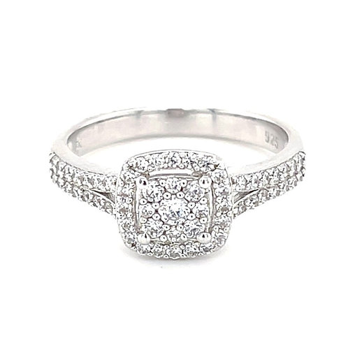 Sterling Silver Cubic Zirconia Square Ring 138667