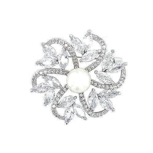 Fashion Silver Cubic Zirconia Flower Pearl Brooch 146131