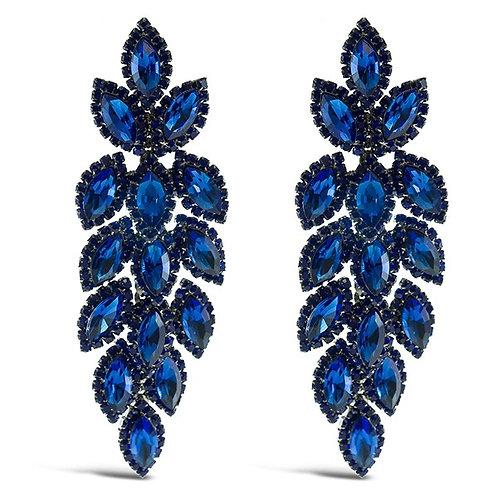 Fashion Royal Blue Crystal Leaf Drop Earrings 140985
