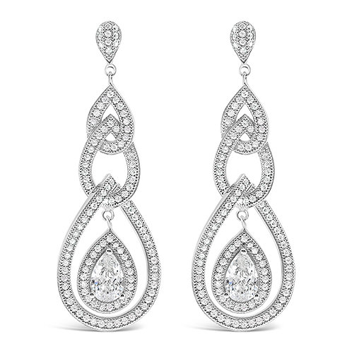 Bitter Sweet Sterling Silver Micro Pave Cubic Zirconia Earrings 125311