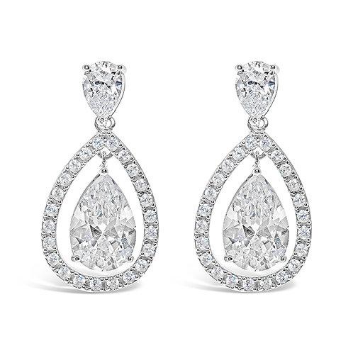 Bridal Silver Cubic Zirconia Earrings 131639-10124404