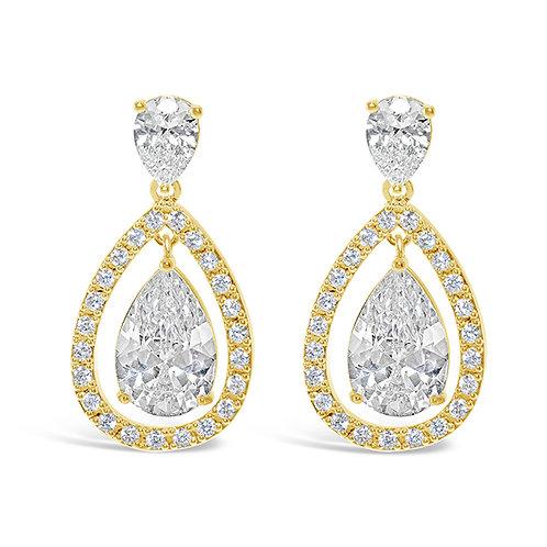Bridal Gold Cubic Zirconia Tear Drop  Earrings 131639-10124405