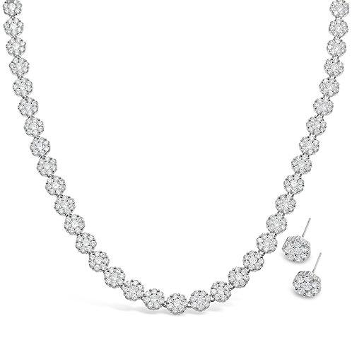 Cubic Zirconia Necklace & Earrings Set 131621