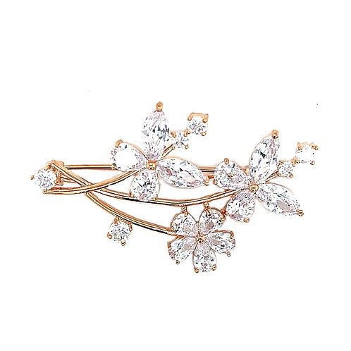 Fashion Rose Gold Cubic Zirconia Butterfly Brooch 141630