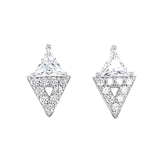Sterling Silver Cubic Zirconia Stud Earrings 131170