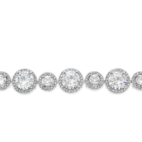 Bridal Silver Cubic Zirconia Round Halo Bracelet 131627