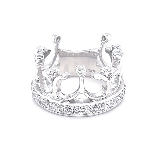 Sterling Silver Cubic Zirconia Pave Crown Ring 156000