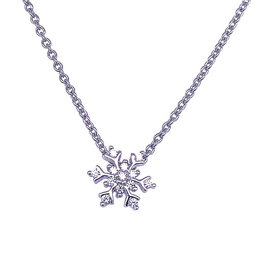 Sterling Silver Cubic Zirconia Snowflake Necklace 141386