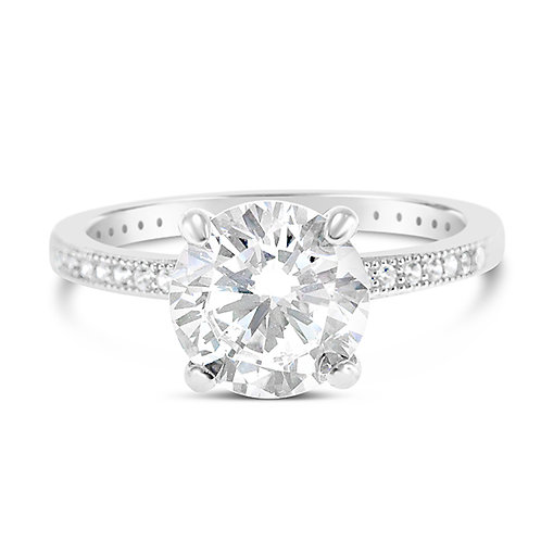 Sterling Silver Micro Pave Cubic Zirconia Ring 113914