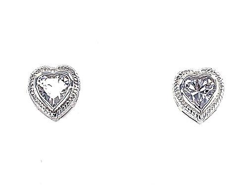 Sterling Silver Cubic Zirconia Heart Earrings 133198
