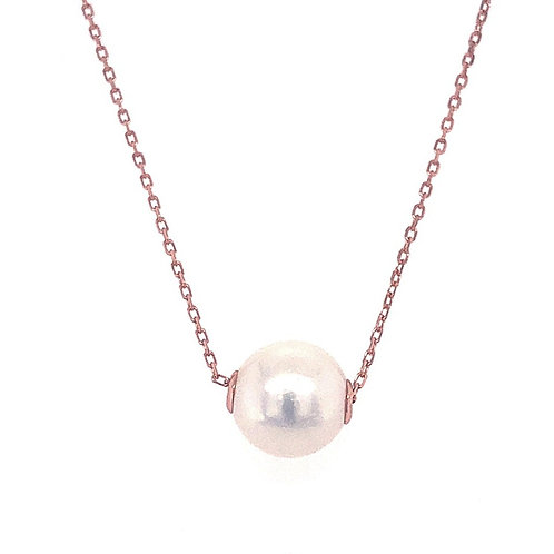 Rosegold Plated Sterling Silver Pearl Necklace 132373