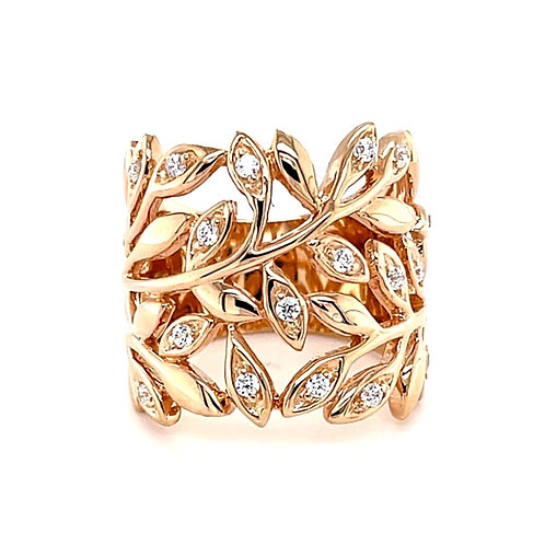 Rose Gold Plated Sterling Silver Cubic Zirconia Leaf Ring 127286