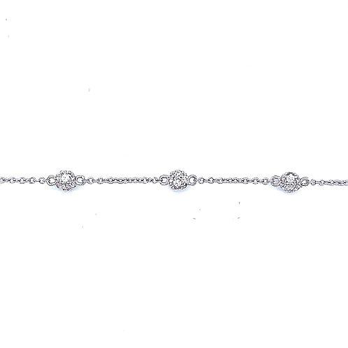 Sterling Silver Cubic Zirconia Pave Ball Bracelet 141812