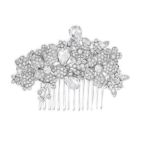 Bridal Silver Flower Hair Comb 120023