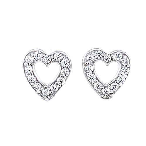 Sterling Silver Cubic Zirconia Pave Heart Stud Earrings 114488