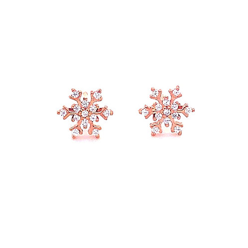 Rose Gold Plated Sterling Silver Cubic Zirconia Snowflake Earrings 132891